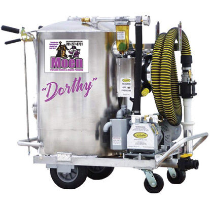 A large silver grease trap cleaner with the name Dorthy. A yellow and black striped accordion tube is attached on the outside of it.