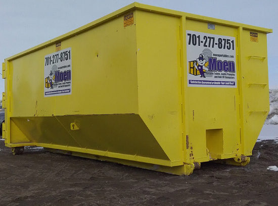 Yellow angled 20 yard dumpster with Moen logo and phone number 701-277-8751