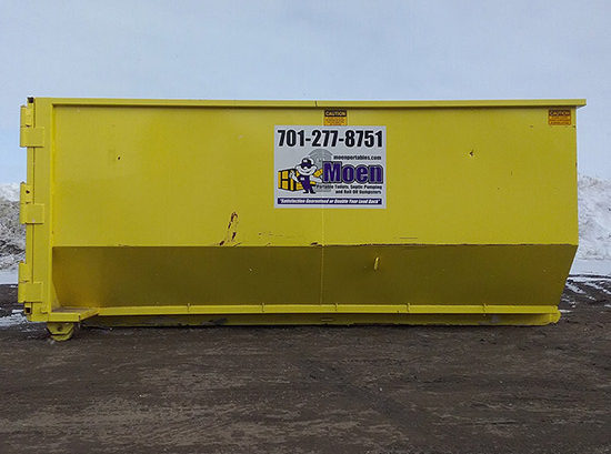Yellow 20 yard dumpster with Moen logo and phone number 701-277-8751