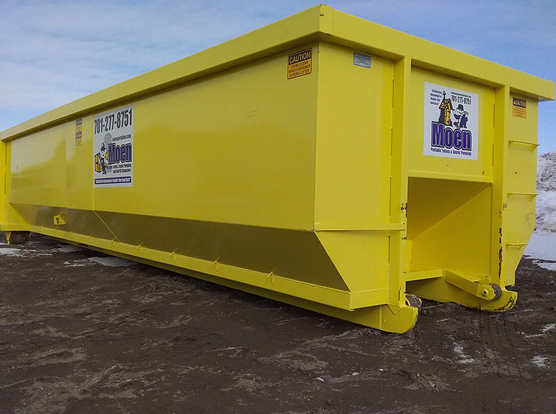 Yellow angled 30 yard dumpster with Moen logo and phone number 701-277-8751